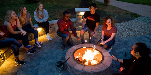 Students having a fire